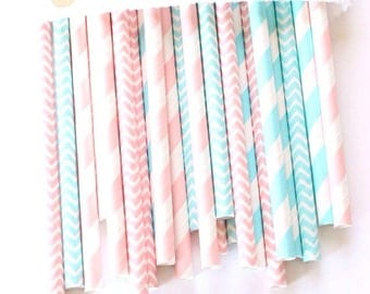 Gender reveal straws-set of 25, gender reveal party, pink and blue straws, baby showers, weddings, cotton candy straws