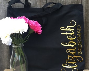 Black Bridesmaid Tote Bag, Bridal Tote, Bride Bag, Bridesmaid Tote, Personalized Tote, Bachelorette Tote, Wedding Tote, Wedding Day Tote