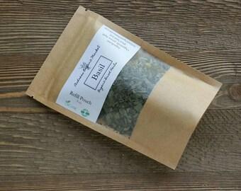 Organic Dried Basil Refill Pouch, Heirloom Variety non-GMO Herb, Italian Seasoning Spice, Natural Fresh Dried Sweet Basil Leaf