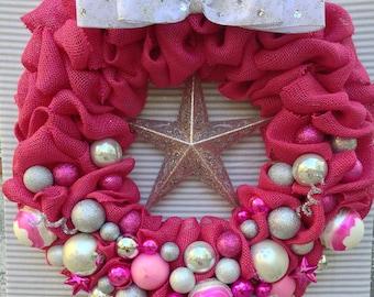 Burlap Wreath, Pink Burlap Wreath, Christmas Burlap Wreath, Holiday Burlap Wreath, Pink Christmas Wreath, Pink Holiday Wreath, Pink Wreath