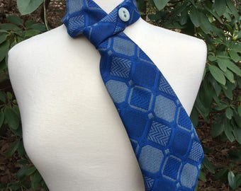 Necktie Scarf upcycled Vintage Blue and gray print polyester men's Repurposed Tie