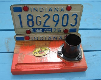 Fathers Day License Plate Desk Phone Holder Pencil Cup Mancave