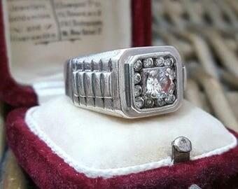 Vintage 925 sterling silver men's signet ring, watch strap, sparkly cz, size s1/2