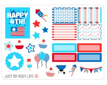 LAST CHANCE July Fourth Sampler Planner Stickers