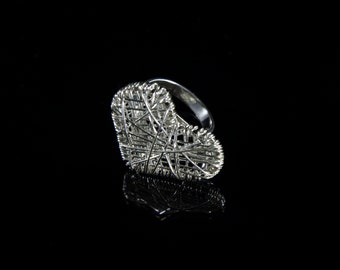 Beautiful silver ring messy embroidery heart shape , forms jewelry, gifts for her.