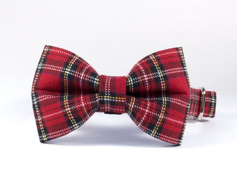 Dog Bow Tie - Handmade using Red Stewart Tartan fabric. Multiple Size Options. Slides Over Existing Collar.