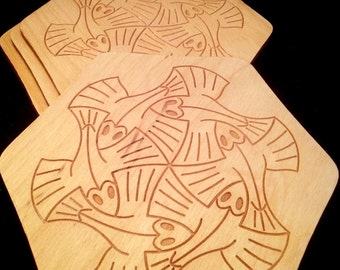 M.C. Escher Fish Coaster set of 4