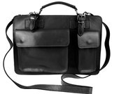 Small Tan Black Hard Genuine Calf Leather Satchel Shoulder Briefcase Italian Made in Italy Office Bag