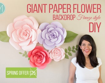 Giant Paper Flower - Firenze Style (PATTERNS + VIDEO TUTORIALS)