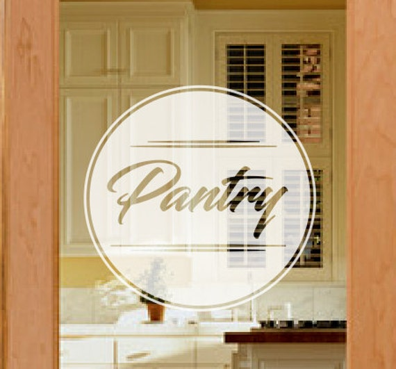 Pantry door decal frosted glass decals etched vinyl decal for Etched glass vinyl lettering