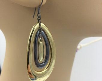 Two tone - Gold Tone Oval Dangle Earrings   BUY 3 Get 1 FREE