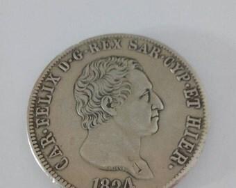 Ancient coin King Carlo Felice 1824