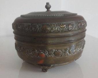 Antique bronze jewelry box year 1900
