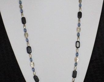 Black, blue and silver necklace