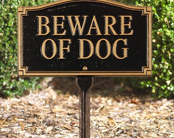 Beware of Dog Statement Marker w/lawn stake