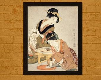 FINE ART REPRODUCTION Preparing Raw Fish Kitagawa Utumaro Ukiyo-e Vintage Fine Art Print Retro    Japanese Art Geisha