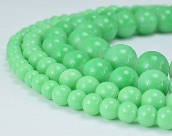 Green Glass Beads Round 6mm/8mm/10mm/12mm Shine Round Beads For Jewelry Making Item#789222045142