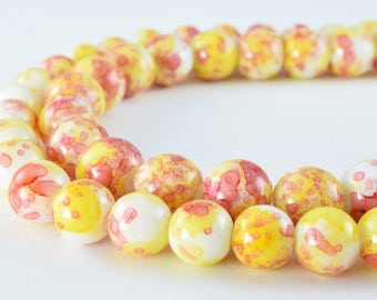 Two Tone Yellow Red Glass Beads Round 10mm/12mm Shine Round Beads For Jewelry Making Item#789222046095