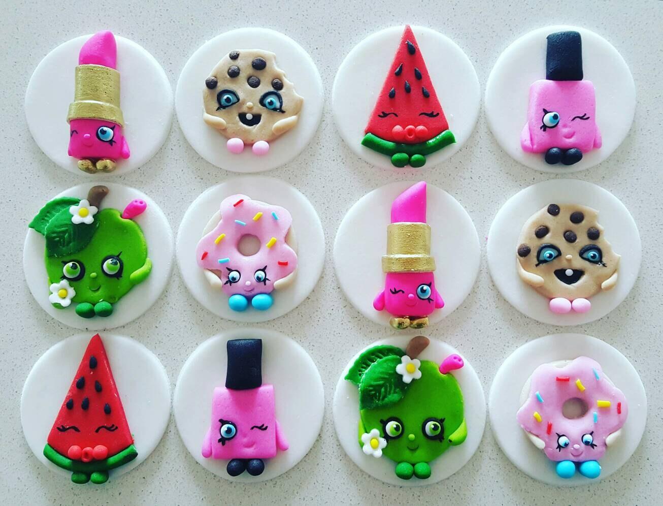 12 x Shopkins fondant cupcake toppers by MadAboutCakeToppers