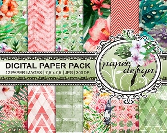 Summer tropical watercolor digital paper pack instant download flower floral Orchid Hawaiian Hibiscus birds 7.5-inch x 7.5-inch pattern #25