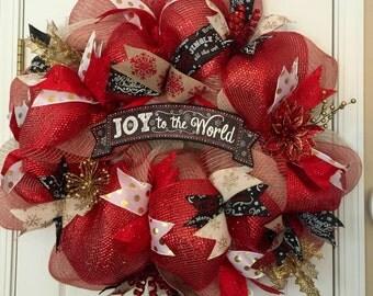 Modern Christmas Wreath, Mesh Christmas Wreath, Red and Gold Christmas Wreath, Rustic Christmas Wreath, Christmas Door Hanger