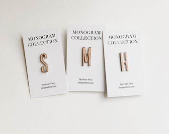 Monogram Initial Letter Hard Enamel Pins In Peach