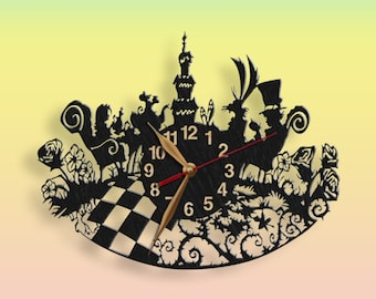Alice in Wonderland Wall Clock Mad Tea Party, Wooden 12inch (30cm), Wall Art Decor, Wood Clock, Home decor #86