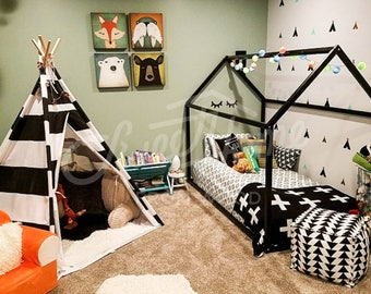 Toddler bed WHITE/ BLACK, house bed, tent bed, children bed, wooden house, wood house, wood nursery, kids teepee bed, wood bed frame SLATS