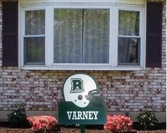 Football Helmet Wooden Yard Art Sign; All Sports can be done and Personalized!
