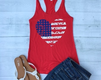4th of July Women, American Flag tank top, American Flag Shirt, USA Shirt, red white and blue shirt, July 4th Shirts, Flag Heart, Size S-2XL