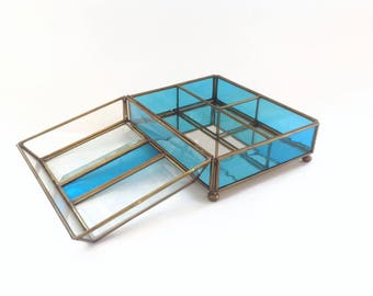 Vintage Brass and Glass Display Box - Jewelry Box - Brass, Glass and Mirrored Display Box - Glass Box - Blue Glass Box