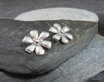FREE GIFT BOX, Sterling Silver, Flower, Earrings, Statement, Floral, Silver, 925, Spring