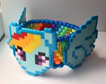 Kandi Cuff Rainbow Dash Wings Rave Bracelet