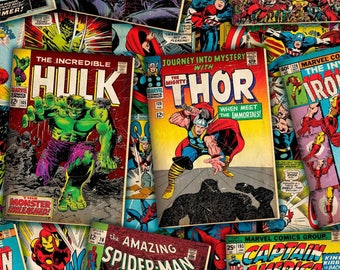 "11"" X 42""   MARVEL COMIC COVERS Retro Superhero  100% Cotton Fabric  Captain America"