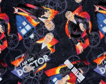 "16"" x 42""  DOCTOR WHO i am The  DOCTOR Cotton fabric sci-fi van gogh"