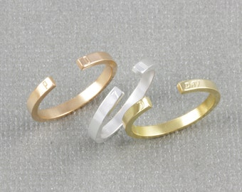 skinny staking personlized ring, name ring, initial ring, date ring, word ring, coordinates ring, skinny band ring (W002)