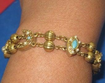 O-38 Vintage Bracelet 7 in long turquoises stone