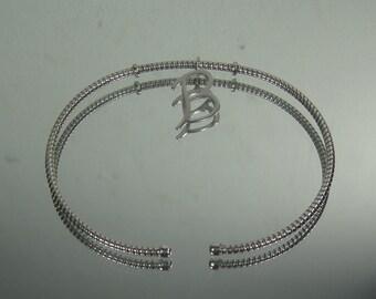 Sterling Silver Bracelet B Monogram  Bangle Style 3-1-17