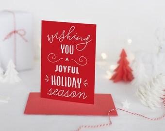 wishing you a joyful holiday season holiday greeting card // whimsical christmas card // hand lettering // printed