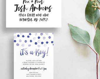 blue polka dot baby shower invites // baby shower invites // boy baby shower invites // baby shower invitations // printable // custom
