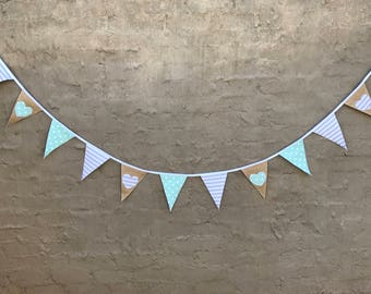 Grey/mint green hearts bunting