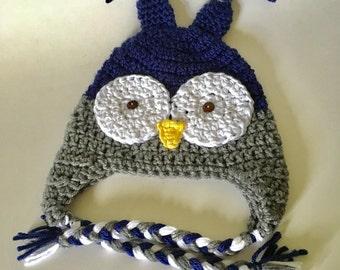 Owl hat, Crochet owl hat, toddler owl hat, boy owl hat, baby photo prop