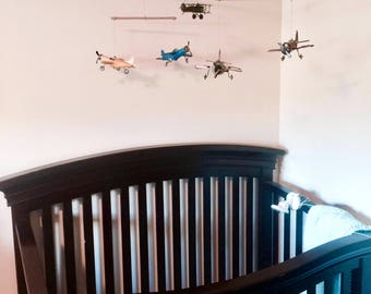 Airplane Nursery Mobile w/ Antique Metal Airplanes