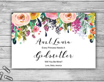 PRINTABLE Godmother Card - Digital File - Will You Be My Godmother Card - DIY - Floral Fairy Godmother Princess Pregnancy Announcement - L08