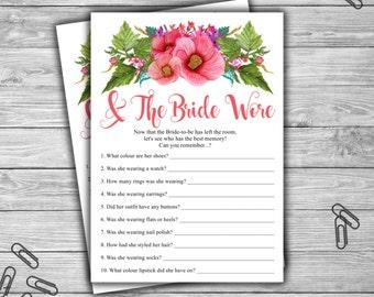 Bridal Shower - And The Bride Wore - Floral - Game Cards - PRINTABLE - INSTANT DOWNLOAD - Pink Floral - Bridal Shower Game - L44