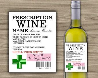 PRINTABLE - Custom - Prescription Wine Label - Custom Wine Label - Personalized - Medical Wine Label - 0065