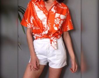 Hawaiian shirt tropical vintage 70 s orange and white sleeves short (L/40)