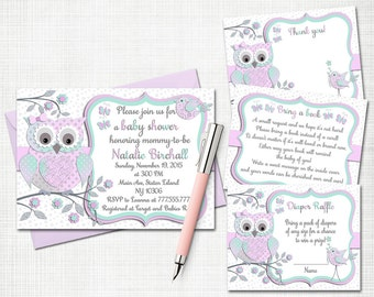 Owl baby shower printable invitation set baby girl digital invite with inserts thank you bring a book Diaper Raffle card lavender mint