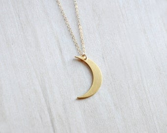 Crescent Gold Charm Necklace,  Half Moon Necklace, Layering Necklace, Everyday necklace