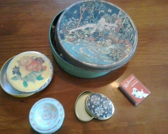 vintage tins bulk lot of 4 including Ian Logan and old dorcas sewing pin tin, shades of blue and  yellow